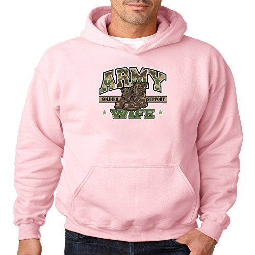 Army Wife Hoodie Soldier Support Mens S-3XL (Light Pink, S)