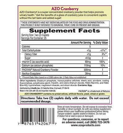 AZO Cranberry Urinary Tract Health, 50 Caplets Each (Pack of 12)