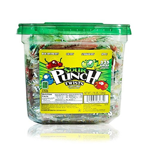 Sour Punch Individually-Wrapped Twists Sour Candy Twists ( 2.78 Pound (Candy Sour Punch Straws)