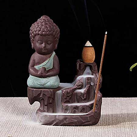 Little Monk Small Buddhism Censer Backflow Incense Holder House Office Home Decor Jzenzero Backflow Incense Burner