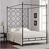 Black Full Sized Contemporary Metal Canopy Bed