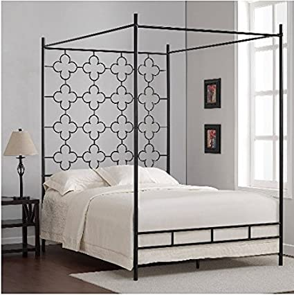 Black Full Sized Contemporary Metal Canopy Bed & Amazon.com: Black Full Sized Contemporary Metal Canopy Bed: Kitchen ...
