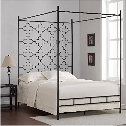 Black Full Sized Contemporary Metal Canopy Bed ()