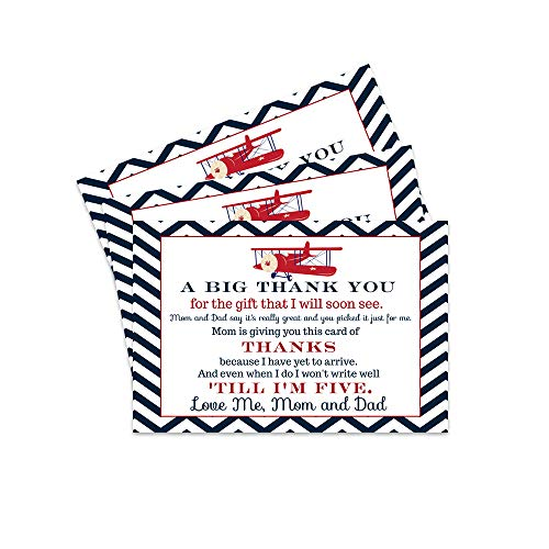 Airplane Baby Shower Postcard Thank You - 15 Cards Only