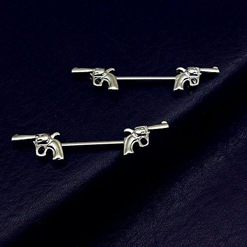 Vcmart piercing des tétons barbell deux pistolets motif Acier chirurgical 316L-1paire