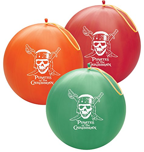 (Pioneer Party Group 63589 Officially Licensed Disney 14-Inch Punch Ball Balloon, 1-Count, Pirates of the Caribbean Assorted Colors)