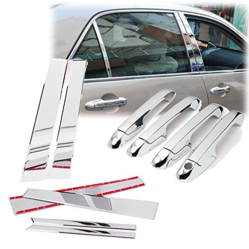 Triple Chrome Side Door Handle + Pillar Post Cover Trims Set Fit for 2003-2007 Honda Accord Sedan ()