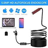 Autofocus Endoscope, Anykit 5.0 Megapixels CMOS HD USB Borescope Inspection Camera with 16.4 FT Waterproof Semi-Rigid Snake Camera and LED Lights, Compatible with Android Phone, MacBook and Windows