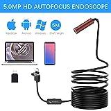 Autofocus Endoscope, Anykit 5.0 Megapixels CMOS HD USB Borescope Inspection Camera with 16.4 FT Waterproof Semi-Rigid...