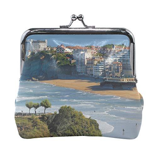 Rh Studio Coin Purse Biarritz France Sea Shore Tide Print Wallet Exquisite Clasp Coin Purse Girls Women Clutch Handbag