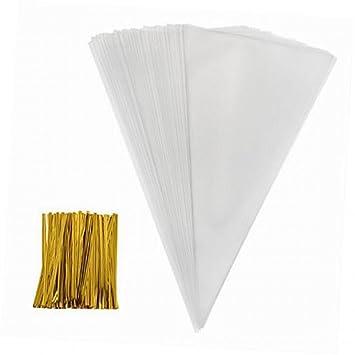 SYOO 100 x Bolsas de plástico transparente Bolsas de papel de fiesta de boda Favores de fiesta de cumpleaños Bolsa plana con cinta dorada para ...