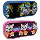 Wodealmug Cartoon French Bulldog Print 2 Pack Pencil Case Big Capacity Bag Pouch Pen Holder for Middle High Office School