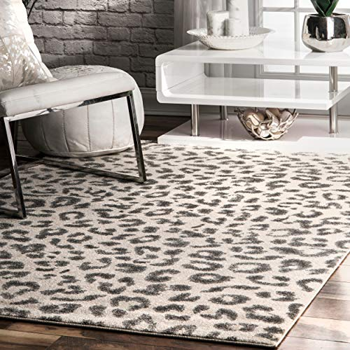 nuLOOM Print Leopard Area Rug, 4' x 6', Gray ()