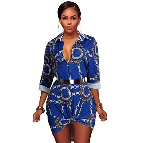 PrettySoul Women's Vintage Stretch Long Sleeve Chain Floral Print Dashiki Button Down Shirt Dress Tunic Top Blouse Blue, (Chain Tunic)
