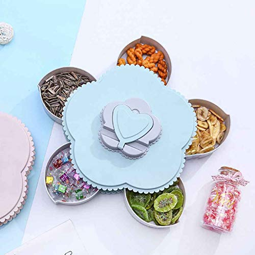 Matoen Petal Bloom Shape Rotating Snack Nut Box Candy Tray Food Storage Box Wedding Candy Plates Dried Fruit Jewelry Organizer Festival Home Decor (Blue)