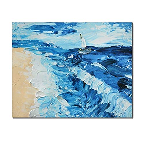 Canessioa Wall Art Canvas Painting Abstract Style Boundless Sea View Blue Sky A Sailing Boat in Rolling Waves Wall Artwork Wall Decor for Home Office Corridor Living Room (16x12inch Unframed)
