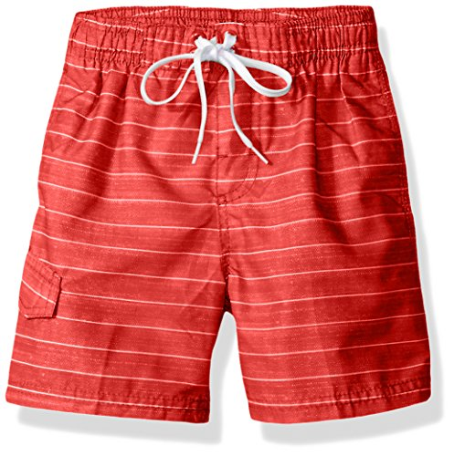 Kanu Surf Toddler Boys' Line up Stripe Quick Dry Beach Board Shorts Swim Trunk, Red, 4T ()