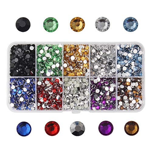 Meicry beads 1 Box About 8000 Pcs Faceted Flat Half Round Resin Rhinestones Cabochons Glitter Diamond Gems Decorations for Cell Phone Nail Art