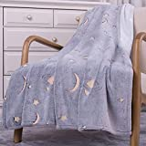 SOCHOW Flannel Plush Throw Blanket 50'' × 60'', Star Moon Shining Pattern Blanket Glow in The Dark ,All Season Grey Blanket for Kids