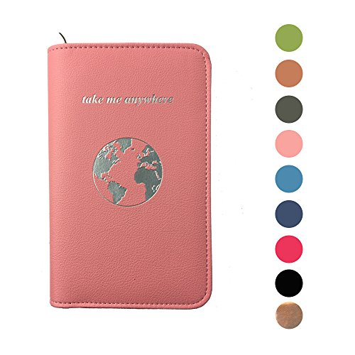 Phone Charging Passport Holder Travel Case w/Power Bank – iPhone, Galaxy & More - RFID Blocking (blush)