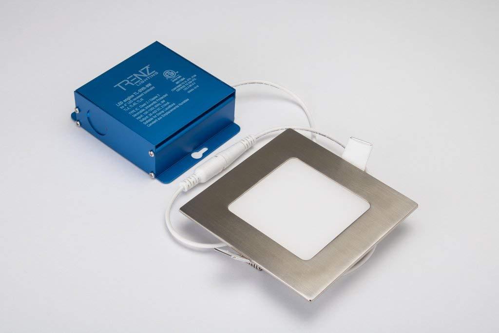ThinLED 凹型 4インチ LED ロープロファイル ポットライト - 最大680ルーメン 9W 調光可能 - 厚さ1/2インチ 電気技師用1個 (正方形 つや消しニッケル 4000K)   B07MBBG9ZH