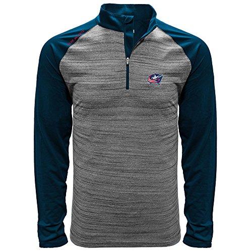 NHL Columbus Blue Jackets Men's Vandal Wordmark Quarter Zip Mid-Layer, Large, Heather - Blue Jacket Of Quarter The