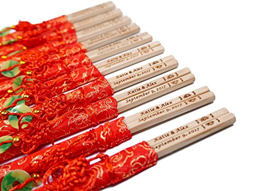 100 Pairs 10 Inch Natural Bamboo Chopsticks with Red Embroidery Pouches – With Custom Personalized Engraving of Names and Date – For Chinese or Japanese Traditional Wedding Favors and Wedding Dinner by STONE&WOOD (Image #4)