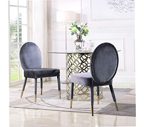 Deluxe Premium Collection Leverett Dining Chair Upholstered Oval Back Armless Design Velvet Wrapped Wood Gold Tone Metal Tipped Legs (Set of 2) Modern Contemporary Grey Decor Comfy Living Furniture