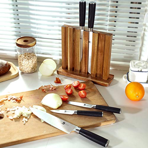 KYOKU Samurai Series, 5-Piece Japanese Knife Block Set - 8'' Chef Knife & 8'' Bread Knife & & 6.5'' Carving Knife & 5'' Utility Knife & 3.5'' Paring Knife & Acacia Wood Block by KYOKU (Image #6)