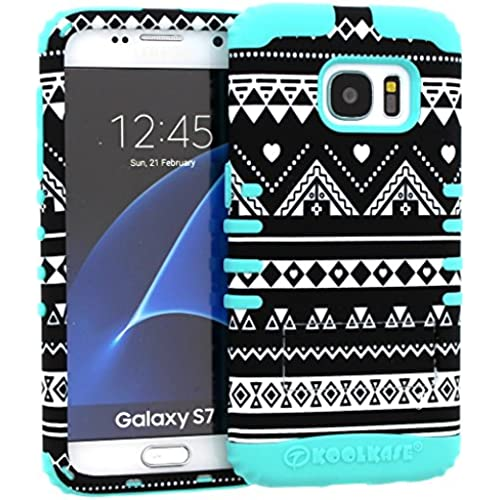 Galaxy S7 Case, Hybrid Heavy Duty Rugged Armor Kickstand Shock Proof Impact Resistant Grip Cover for Samsung Galaxy S7 (Tribal Aztec C / B Teal) Sales