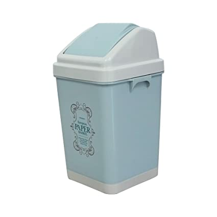 Idomy Plastic Swing Top Trash Can, 3 Gallon Bathroom Garbage Can With Lid,  Blue