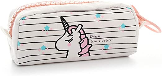 Bolsa Estuche para Lápices, Mini Funda Auriculares, Zipper Cubierta Bag Caja Estuche Desplegable Hacia Bajado con Dibujo Encantador Bolso de Lápices con Cremallera - Unicornio blanco: Amazon.es: Amazon.es