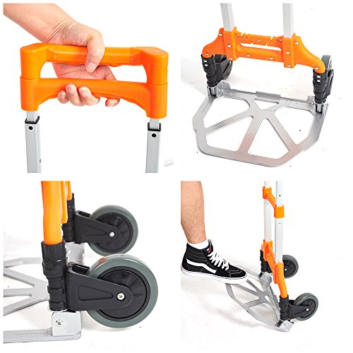 Lucky Tree Folding Hand Truck Aluminium Portable Dolly Cart with Wheels for Office Travel Home Use 170lbs Capacity by Lucky Tree (Image #2)