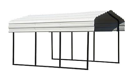 Arrow 10' x 24' x 7' 29-Gauge Carport with Galvanized Steel Roof Panels,  10' x 24' x 7' Black/Eggshell