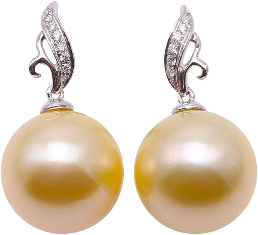 JYX Pearl Pendientes de oro de 18 quilates AAA+, de auténtica elegancia, redondos, de 12 mm, con perlas cultivadas en el mar del Sur, para mujer