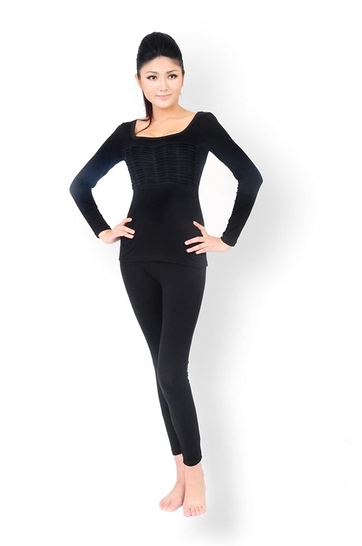 Godsen Women's Scoop Neck Stretch Thermal Underwear Base Layering Set