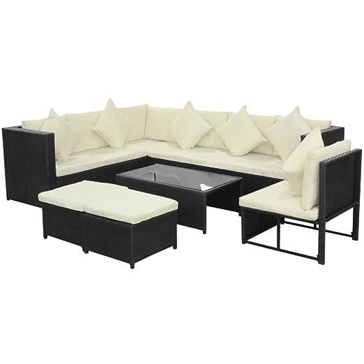 Tidyard Conjunto Muebles de Jardín de Ratán 29 Piezas Sofa ...