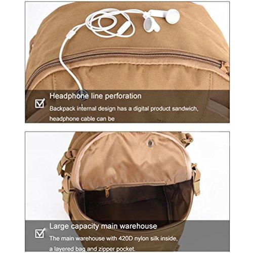 Mochila 600D Ventiladores militares Tactics mochila Hombres y mujeres con auricular agujero impermeable camuflaje al aire libre mochila , black black