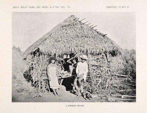 [1922 Print Negrito Philippines Ethnic Indigenous Costume Thatch Bow Anthropology - Original Halftone Print] (Philippines Costumes)