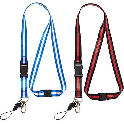2 Pack Office Neck Lanyards Detachable Buckle Enhanced Model Hook Breakaway Strap Quick Release Safety Lanyard for ID Badge,Key,Women Men Cell Phones USB Whistles Nylon Black,Blue