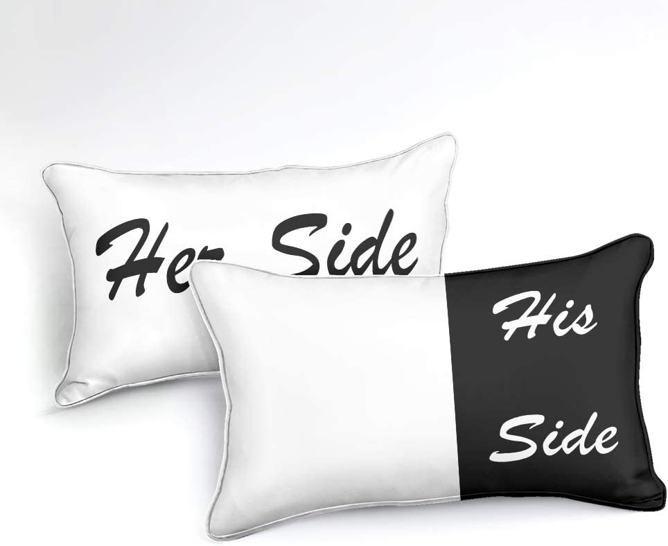 Her Side, Queen White Black Duvet Cover Queen Love Couple Bedding Her Side His Side Printed Half Design Black and White Boys Girls Microfiber Bedding Sets Queen 1 Duvet Cover 2 Pillowcases
