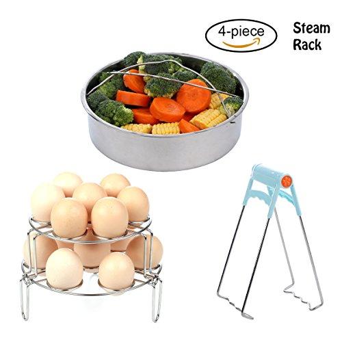New Upgraded Steamer Basket Rack Set for Instant Pot Accessories - Egg Steamer Rack/Vegetable Steamer Basket Fits Instant Pot 5, 6, 8qt Pressure Cooker with Foldable Bowl Plate Dish Clip (Steamer Set Basket)