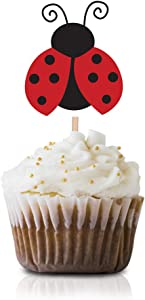 Ladybug Cupcake Topper Picks, 24-Pack Boy Girl Red Ladybugs Baby Shower Birthday Party Decorations