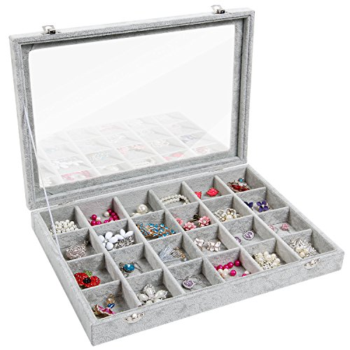 Valdler Clear Lid 24 Grid Jewelry Tray Showcase Display - Gemstone Gray Earrings