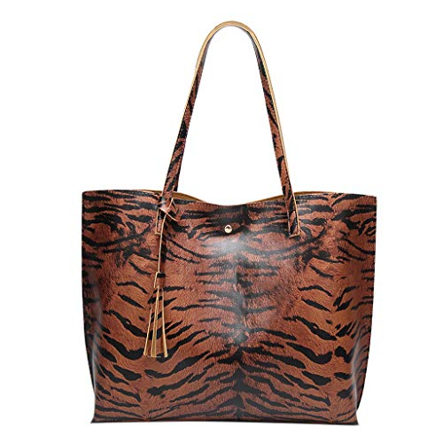(Crazy Promotion!!!♛HYIRI Fashion Tiger Pattern Shoulder Bag ,Women's Leather Tassel HaspHand Bag Tote)