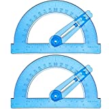 BOAO 2-Pack Plastic Swing Arm Protractors 6 inches Clear 180 Degrees