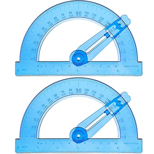 BOAO 2-Pack Plastic Swing Arm Protractors 6 inches Clear 180 Degrees Deal (Large Image)