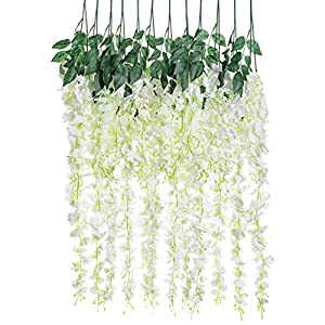 Artificial Silk Wisteria Vine Rattan Garland Fake Hanging Flower Wedding Party Home Garden Outdoor Ceremony Floral Decor,3.18 Feet, 6 Pieces (White-2) 107