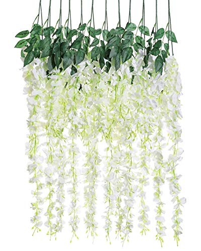 Artificial Silk Wisteria Vine Rattan Garland Fake Hanging Flower Wedding Party Home Garden Outdoor Ceremony Floral Decor,3.18 Feet, 6 Pieces (White-2) (Flower Banner)