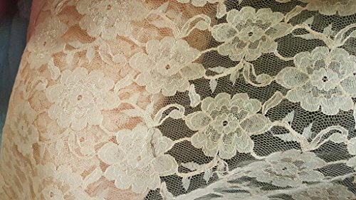 Peach Chantilly Lace 100% Polyester Non Stretch with Edging - Sold by the Yard